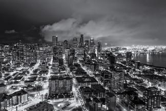 City at night - monochrome