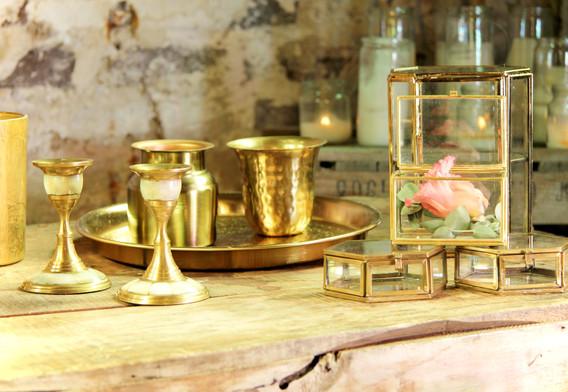 Goldene Kerzenständer mit Perlmutt - Je Stk. 2,50 Euro