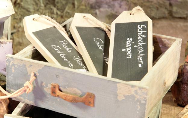 Kleine Holztafeln individuell beschreibar (Kreide) im Set - 4,50 Euro