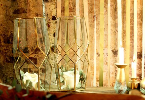 Windlichter gold-glas - Je Stk. 7,50 Euro