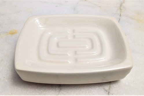 Ceramic Soap Dish - White Rectangle