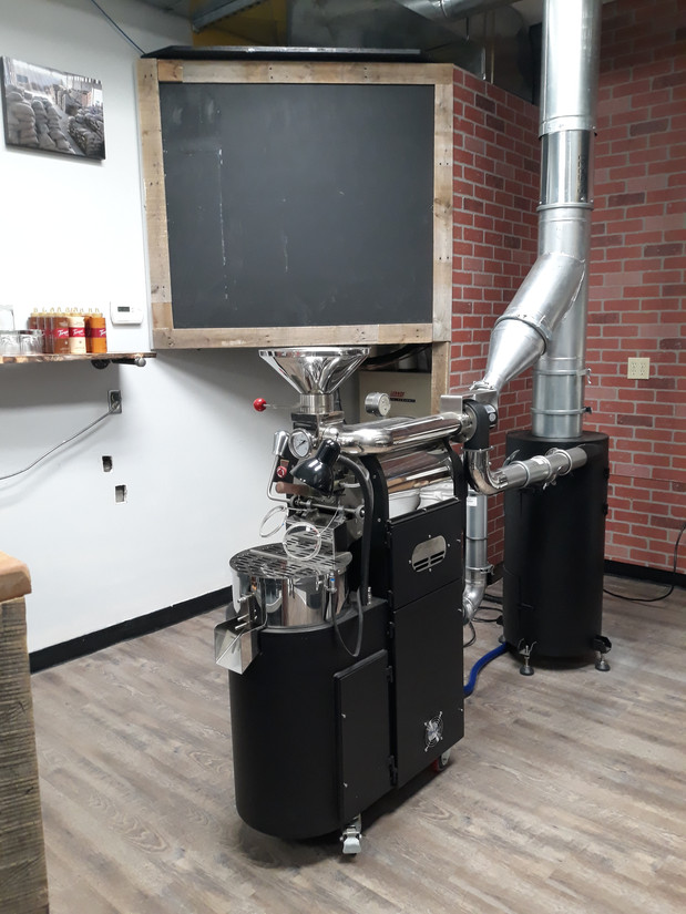 Our 2K roaster. Our beans are always small batch roasted!
