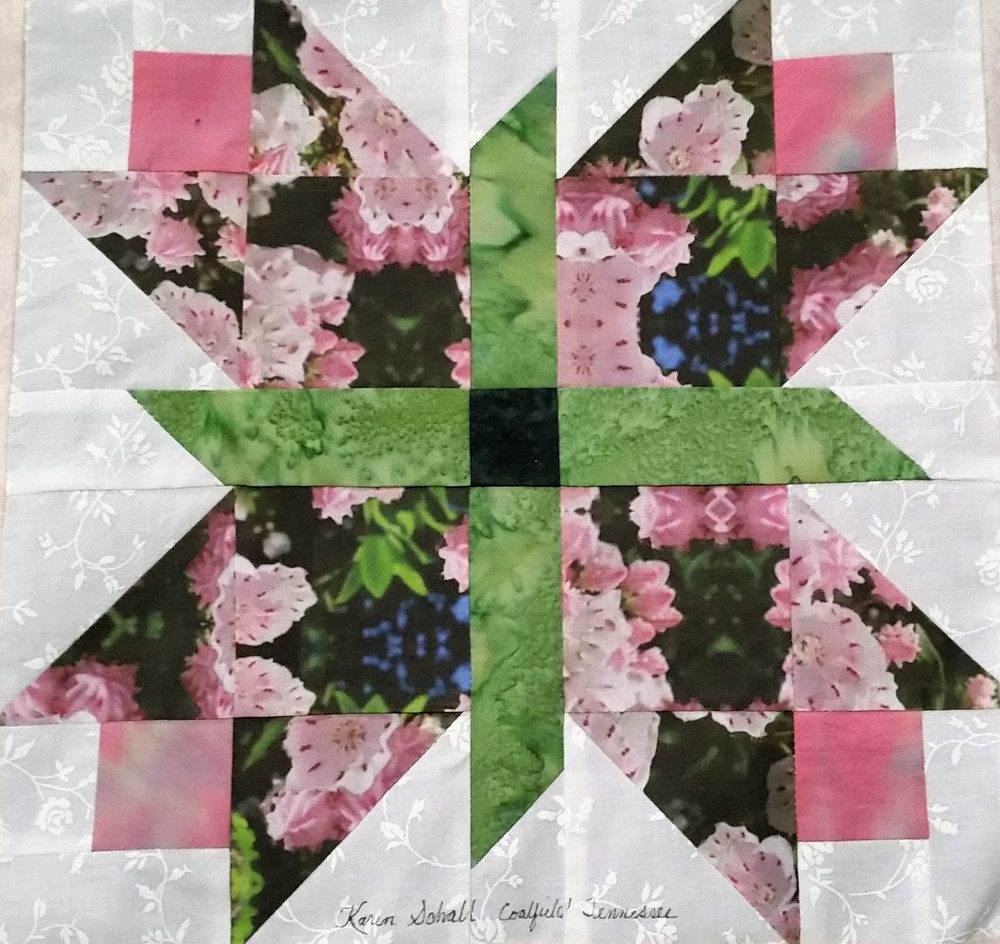 Photo:  One of 42 beautiful Mountain Laurel Quilt Squares to be used in the 2017 Historical Quilt.  Tickets are being sold now for the donation drawing.