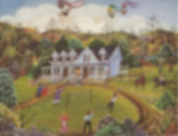 Painting of Grey Gables & Children