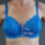 Perfect Again Breast Forms | Mastectomy Bras | Australia | Products | Lightweight Breast Form | Comfortable Breast Forms | Natural Feeling Breast Forms | Post Cancer Surgery | Breast Form in Blue Bra | 80mm Bra Bridge