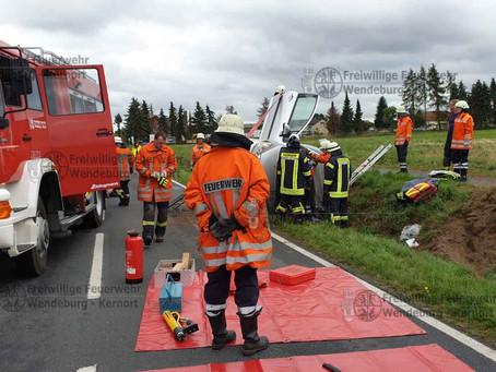 Verkehrsunfall, PKW in Graben (18.08.2019)