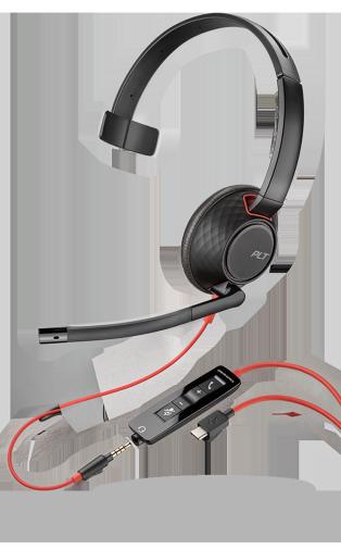 PLX Blackwire C5210 Monaural USB-C Headset with 3.5mm Plug