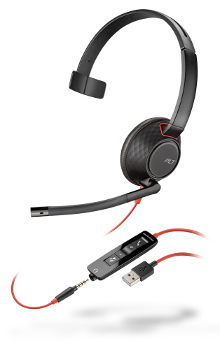 PLX Blackwire C5210 Monaural USB-A Headset with 3.5mm Plug