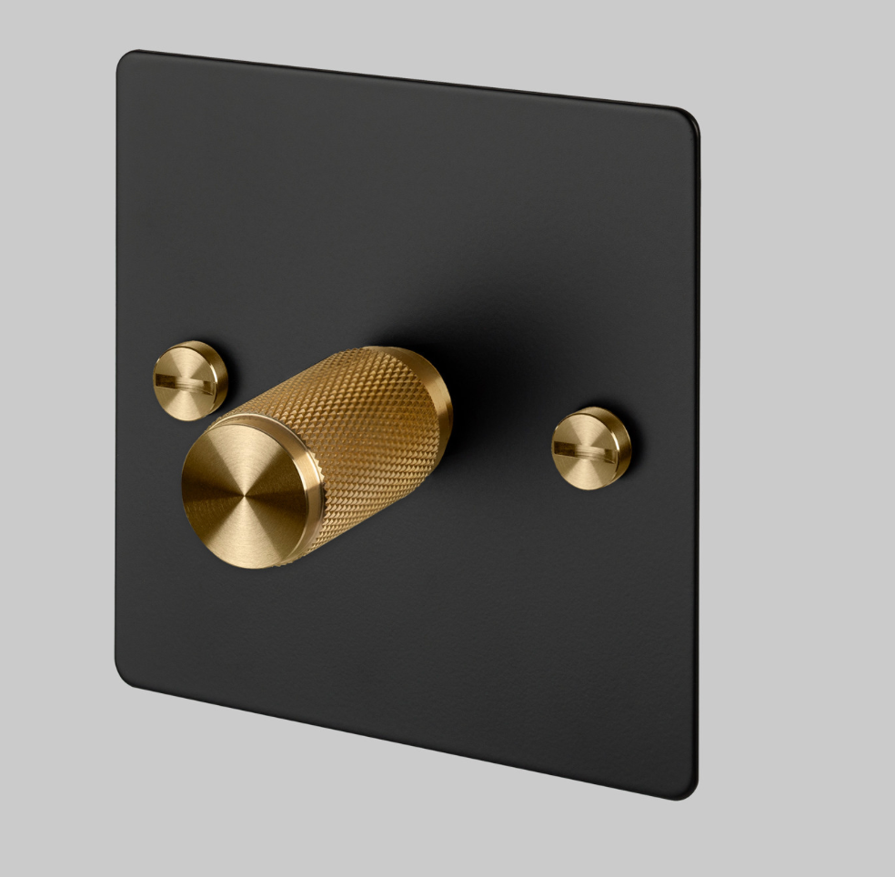 Dimmer Brass & Matt black light switch. Luxury light switches