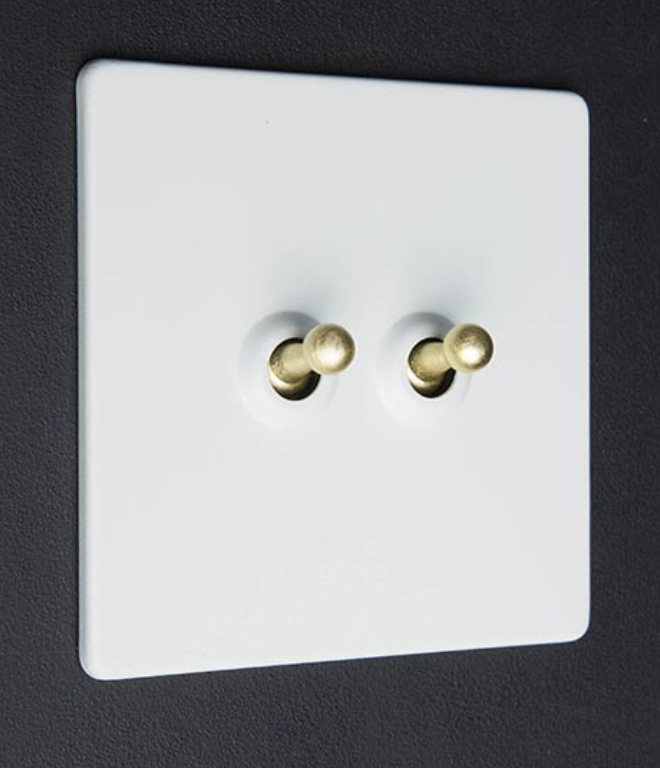 Dowsing And Reynolds, luxury white light switch with gold toggles