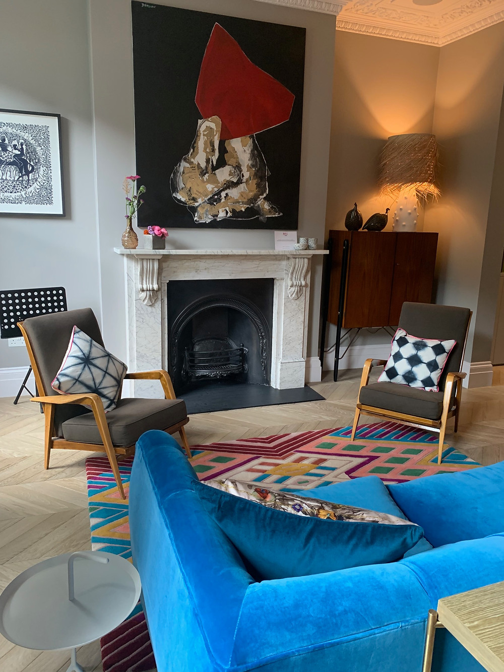 Eclectic Lounge, Bold Prints, Scandi influence chairs