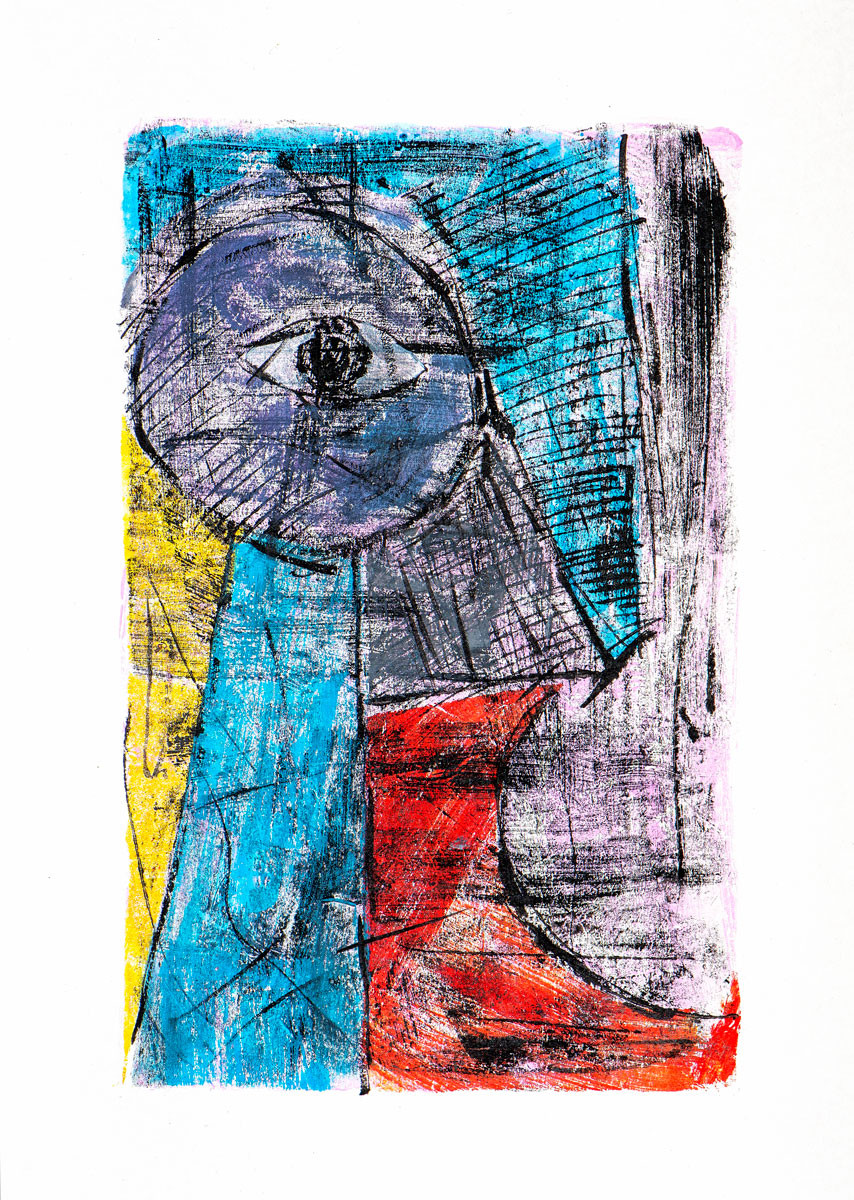 Abstract color monoprint by Mauritian artist Pascal Lagesse