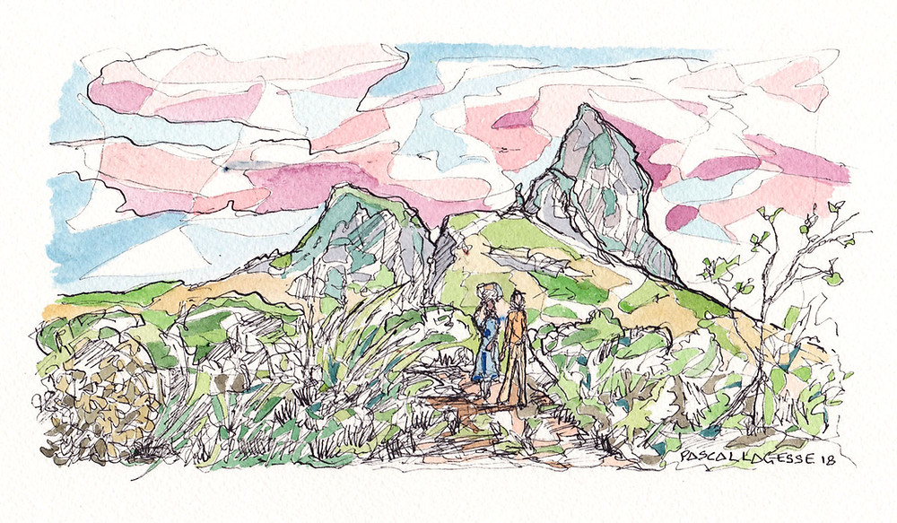 Watercolor painting showing Rempart mountain by Mauritian artist Pascal Lagesse