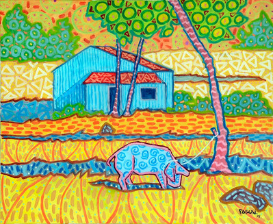 House with blue pig - 2015