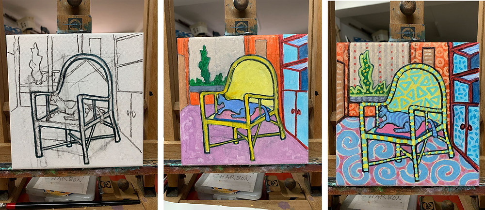 3 steps for painting featuring a cat on an armchair by Mauritian artist Pascal Lagesse
