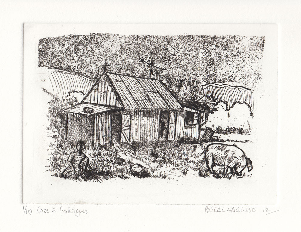 Etching on copper plate showing a house in Rodrigues by Mauritian artist Pascal Lagesse