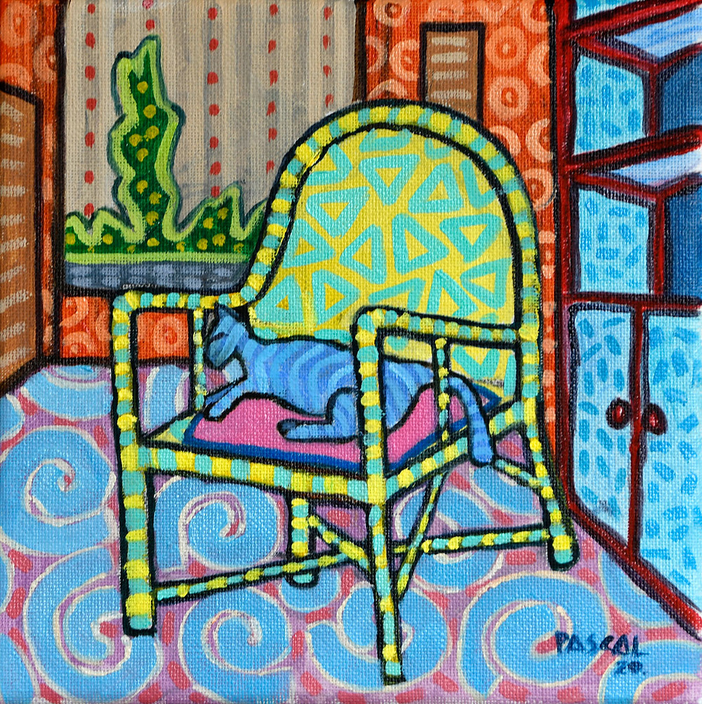 Zafer style painting about a cat on an armchair by Mauritian artist Pascal Lagesse
