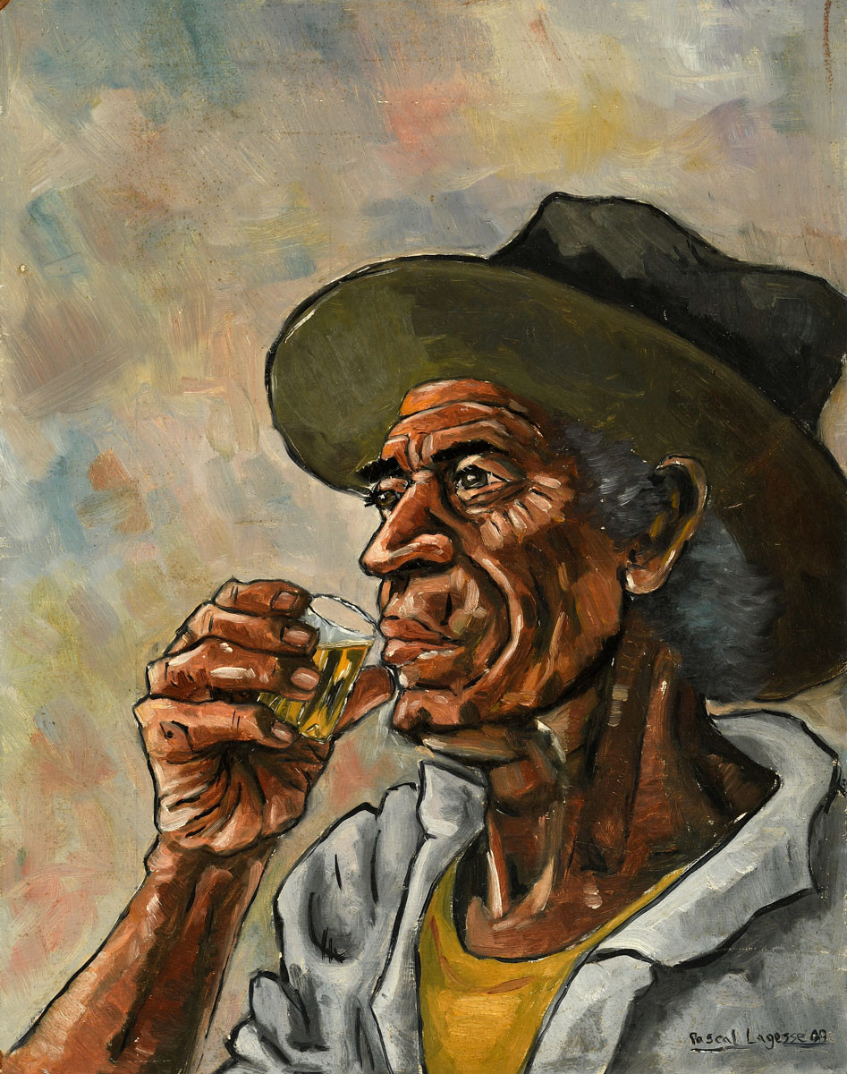 Oil painting from 1989 about a man drinking rhum by Mauritian artist Pascal Lagesse