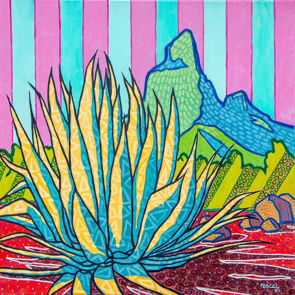 Aloe and Rempart mountain, painting in Zafer style by Mauritian artist Pascal Lagesse