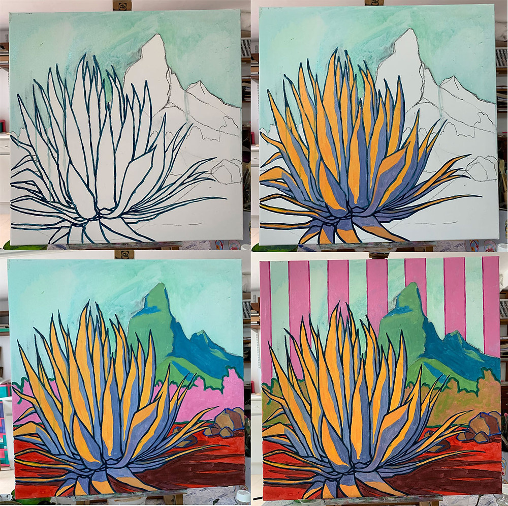 Creation of a Zafer style painting about Aloe plant by artist Pascal Lagesse