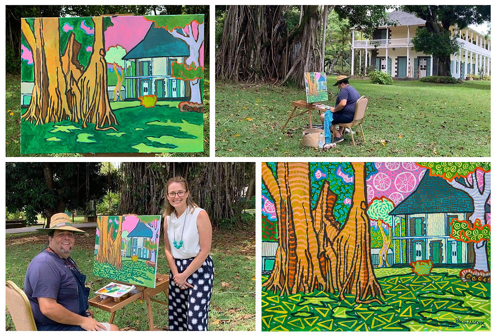 Painting on Australia Day in Mauritius with Australian High commissioner