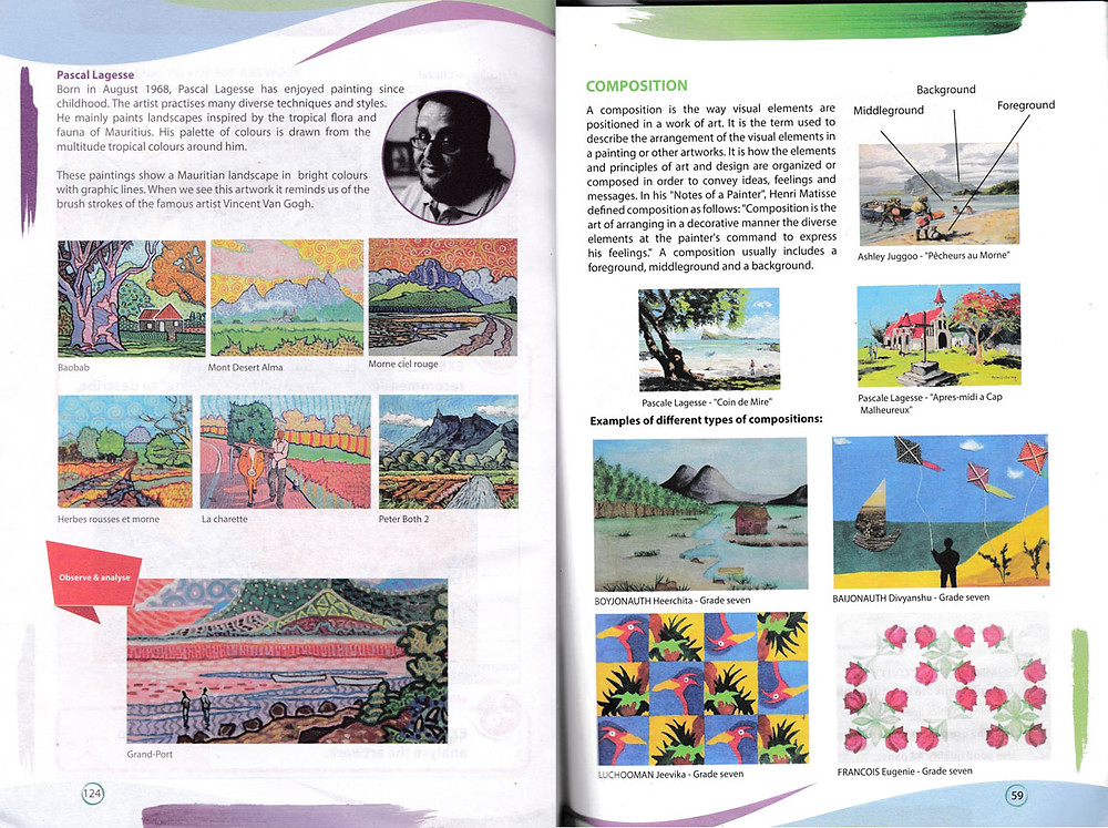 Page in Art and design book, Mauritius about Pascal Lagesse