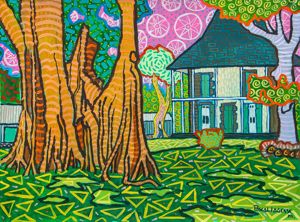 Zafer style painting by Mauritian artist Pascal Lagesse showing Mon Plaisir house in Pamplemousses gardens
