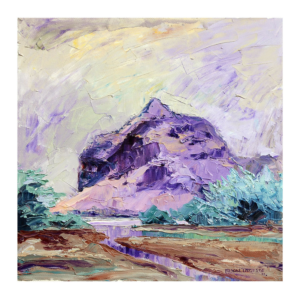 Oil painting showing Le Morne mountain by Mauritian artist Pascal Lagesse