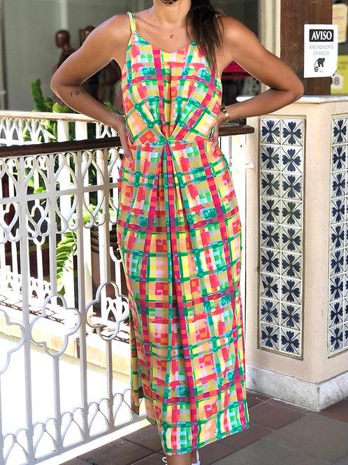 vestido antúrio xadrez