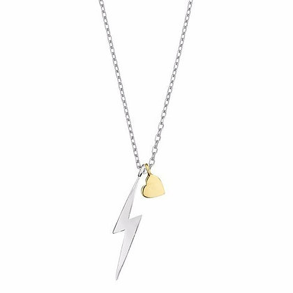 Lightening bolt & heart necklace