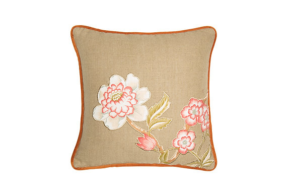 LINEN CUSHION WITH JAPANESE FLOWER APPLIQUE