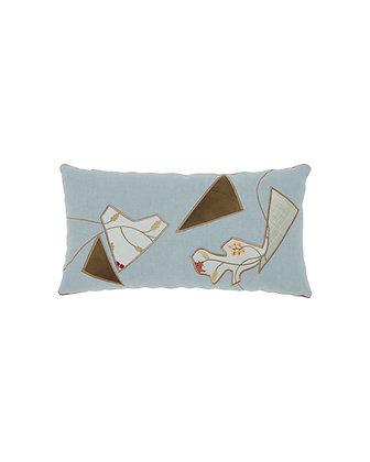 Applique Detailed Blue Cushion 1
