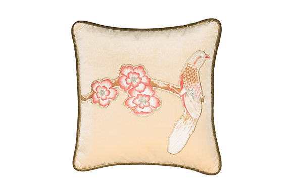 VELVET CUSHION WITH PHEASANT BIRD APPLIQUE