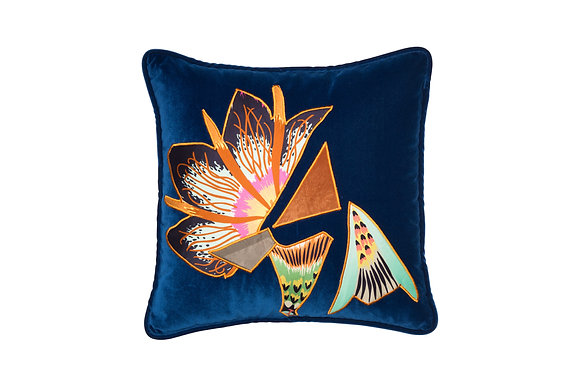 VELVET CUSHION WITH APPLIQUE DETAILS