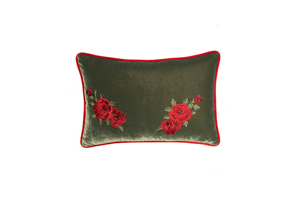 VELVET CUSHION WITH ROSE EMBROIDERY