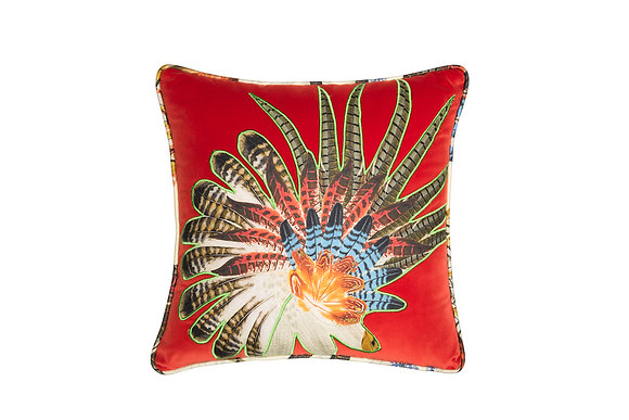 VELVET CUSHION WITH APPLIQUE DETAIL