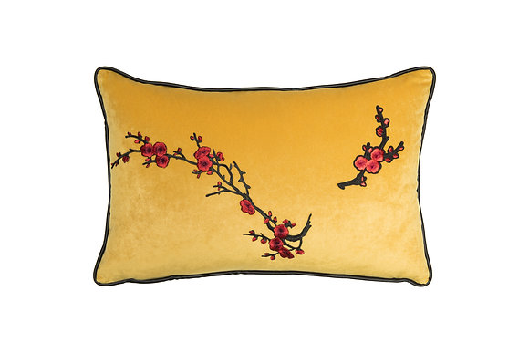 VELVET CUSHION WITH JAPANESE FLOWER EMBROIDERY