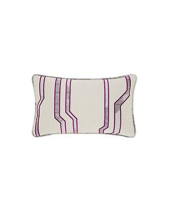 Purple Embroidered Lumbar Cushion