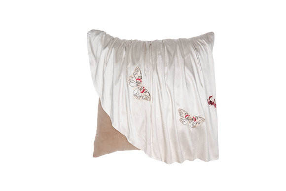 BUTTERFLY EBROIDERED SILK PILLOW