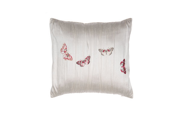 BUTTERFLY EMBROIDERED SILK PILLOW