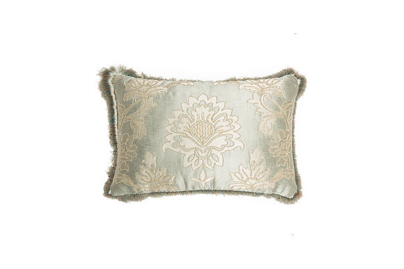WATER GREEN CUSHION WITH DAMASK PATTERN