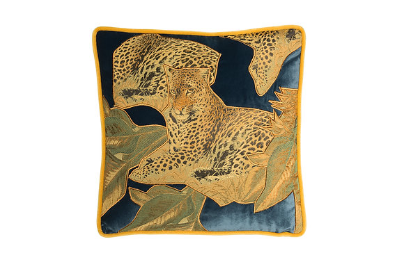 VELVET CUSHION WITH AFRICAN LEOPARD APPLIQUE