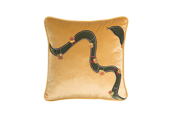 VELVET CUSHION WITH SNAKE APPLIQUE