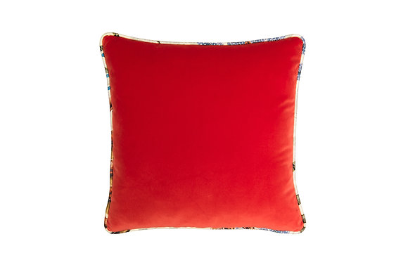 RED VELVET CUSHION WITH PATTERNED FABRIC TRIM