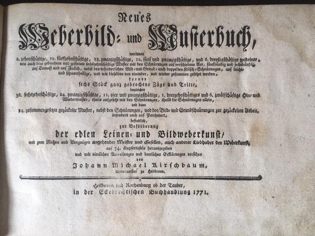 KIRSCHBAUM, Johann Michael. Neues Weberbild Und Musterbuch