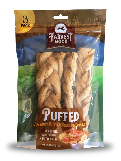 "#01546 Puffed 7"" Braided Twist Peanut Butter - 4 pcs"