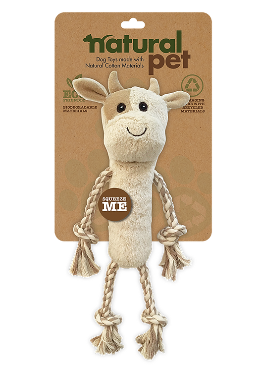 #01282 Plush Dog Toys with Rope Asst - Cow