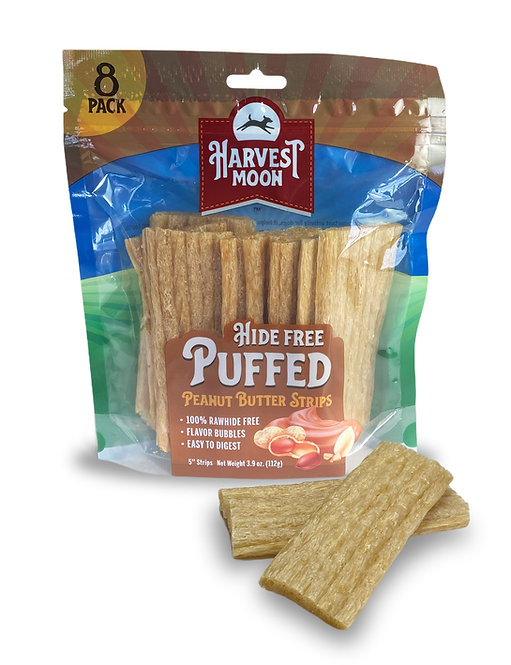 Harvest Moon Hide Free Puffed Peanut Butter Strips - 8CT