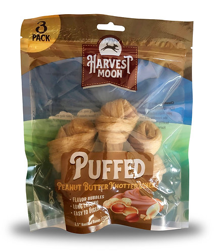 #01545 Puffed Knotted Bone Peanut Butter - 3pcs