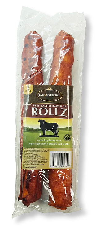 "#01561 Beef Basted Rawhide Rollz 10"" 2 Count"